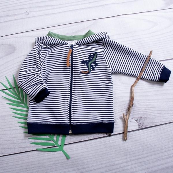 K-Baby Detská mikina s kapucňou Jašterica Prúžok - granát / zelená
