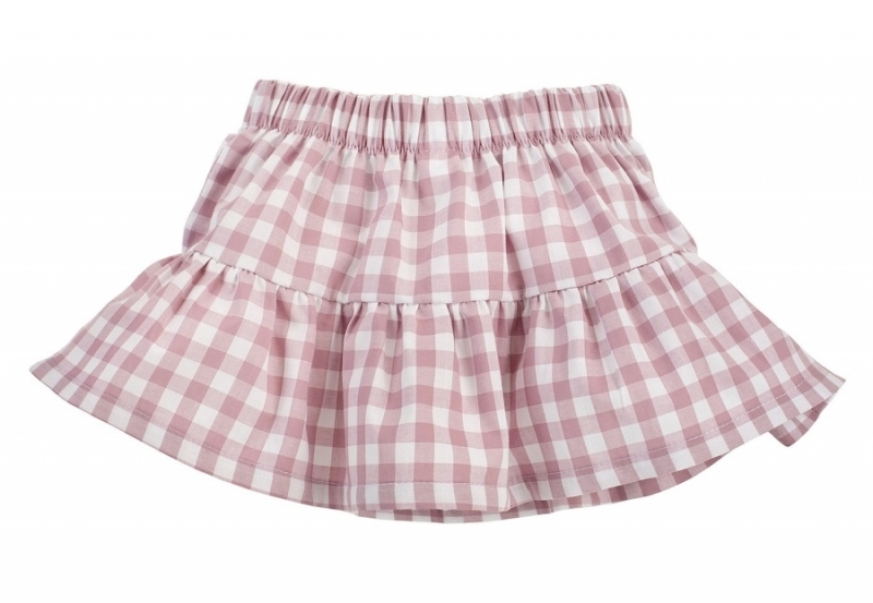 Pinokio Kockovaná letné sukne Sweet Cherry - lila / biela, veľ. 86