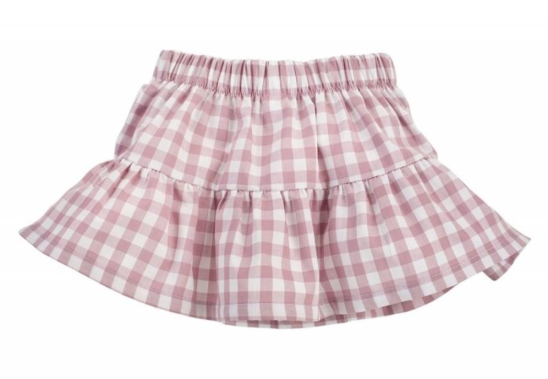 Pinokio Kockovaná letné sukne Sweet Cherry - lila / biela, veľ. 98