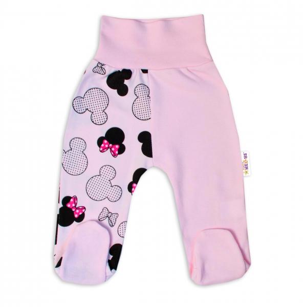 Baby Nellys Bavlnené dojčenské polodupačky Minnie - sv. ružová