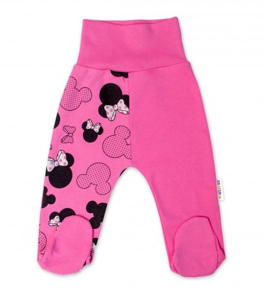 Baby Nellys Bavlnené dojčenské polodupačky Minnie - ružová