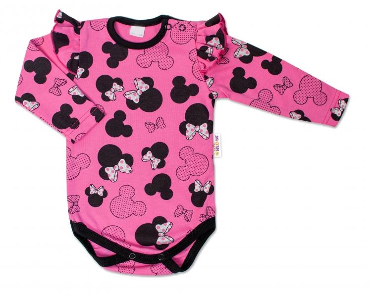 Baby Nellys Dojčenské body dl. rukáv s volánikom Minnie - ružová, veľ. 86