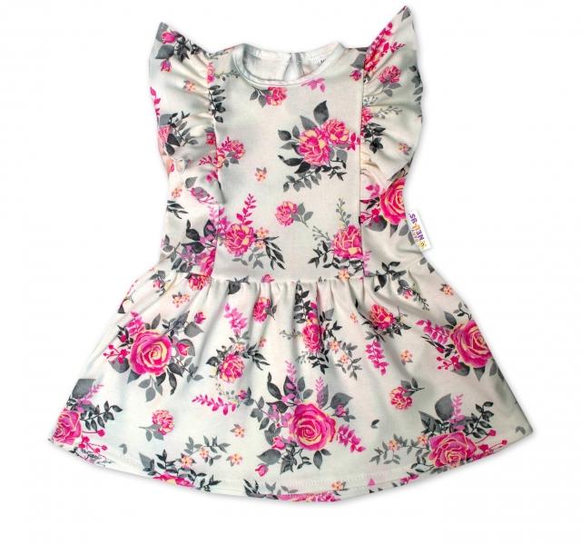 Baby Nellys Letné šaty s krátkym rukávom New Roses - smotanové, veľ. 98
