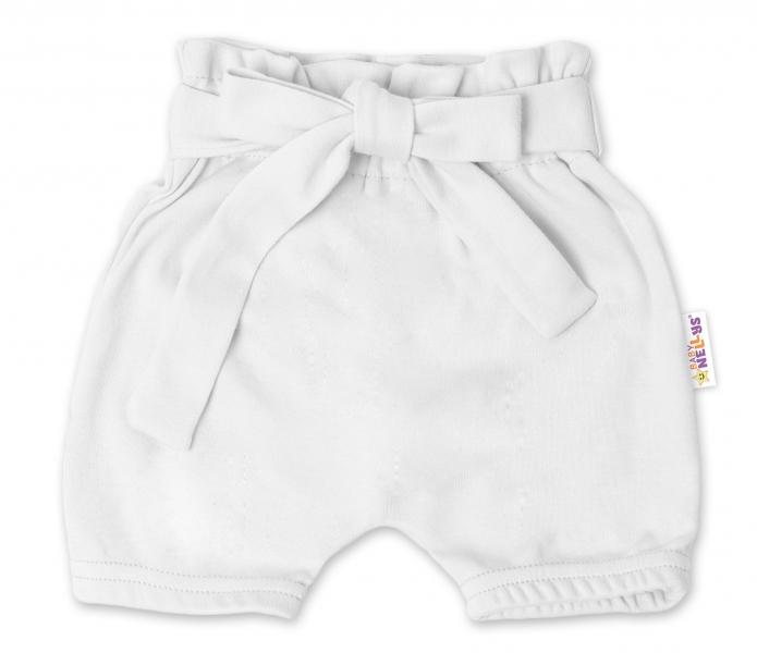 Baby Nellys Bavlnené kraťasy s ozdobným pásikom - biele
