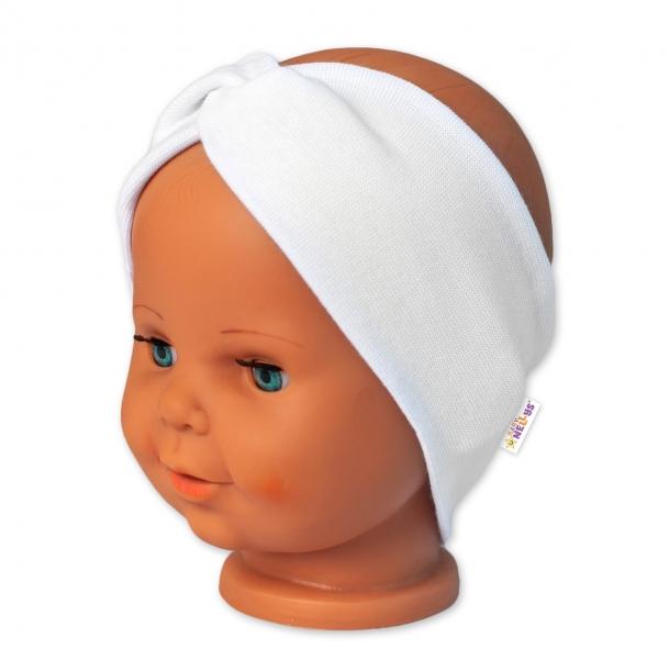 Baby Nellys Bavlnená čelenka dvojvrstvová, biela, 6-9 mesiacov