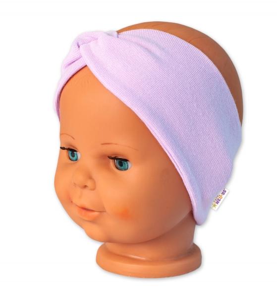 Baby Nellys Bavlnená čelenka dvojvrstvová, lila-#Velikost koj. oblečení;56-62 (0-3m)