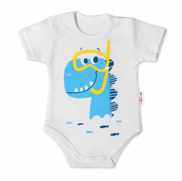 Baby Nellys Bavlnené dojčenské body, kr. rukáv, Drak Eda - biele, veľ. 62