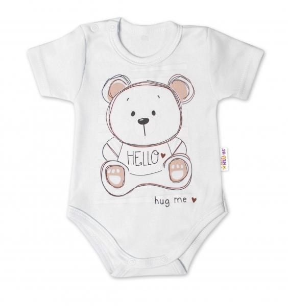 Baby Nellys Bavlnené dojčenské body, kr. rukáv, Teddy - biele, veľ. 86