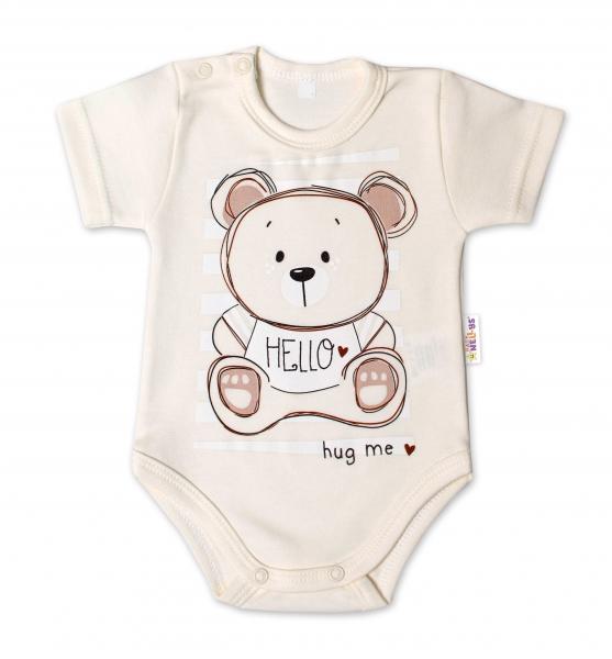 Baby Nellys Bavlnené dojčenské body, kr. rukáv, Teddy - ecru