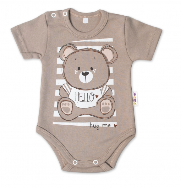 Baby Nellys Bavlnené dojčenské body, kr. rukáv, Teddy - béžová, veľ. 86