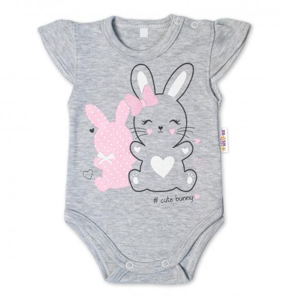 Baby Nellys Bavlnené dojčenské body, kr. rukáv, Cute Bunny - sivá
