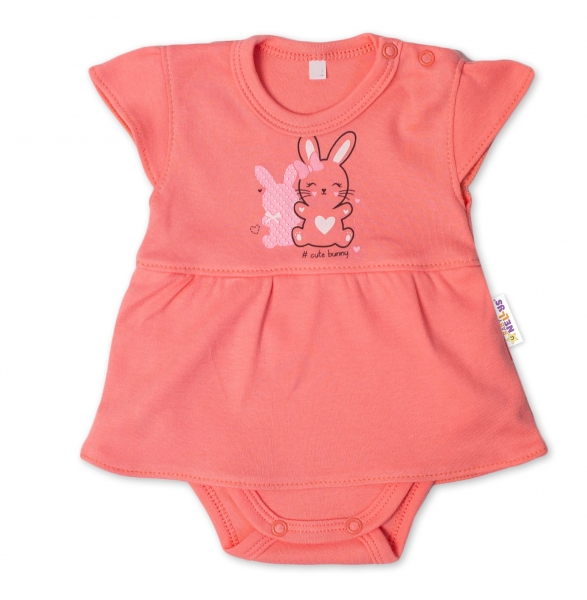 Baby Nellys Bavlnené dojčenské sukničkobody, kr. rukáv, Cute Bunny - lososové, veľ. 68