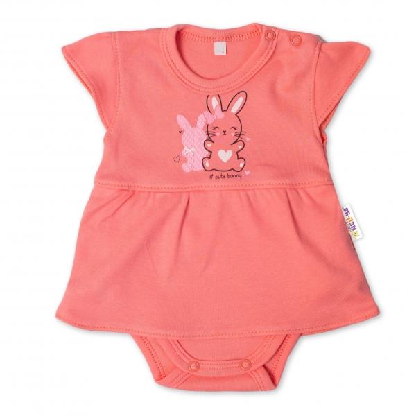 Baby Nellys Bavlnené dojčenské sukničkobody, kr. rukáv, Cute Bunny - lososové, veľ. 80