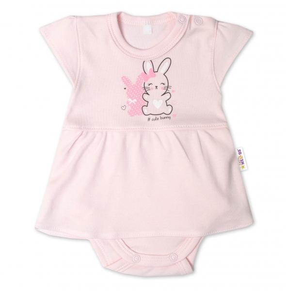 Baby Nellys Bavlnené dojčenské sukničkobody, kr. rukáv, Cute Bunny - sv. růžové