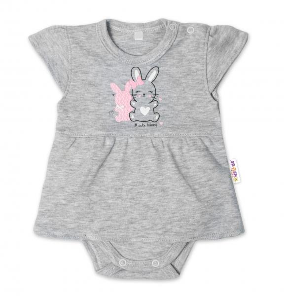 Baby Nellys Bavlnené dojčenské sukničkobody, kr. rukáv, Cute Bunny - sivá, veľ. 80