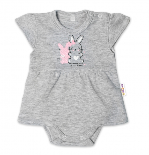Baby Nellys Bavlnené dojčenské sukničkobody, kr. rukáv, Cute Bunny - sivá, veľ. 86