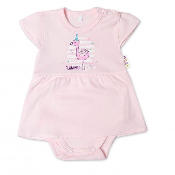 Baby Nellys Bavlnené dojčenské sukničkobody, kr. rukáv, Flamingo - sv. růžové