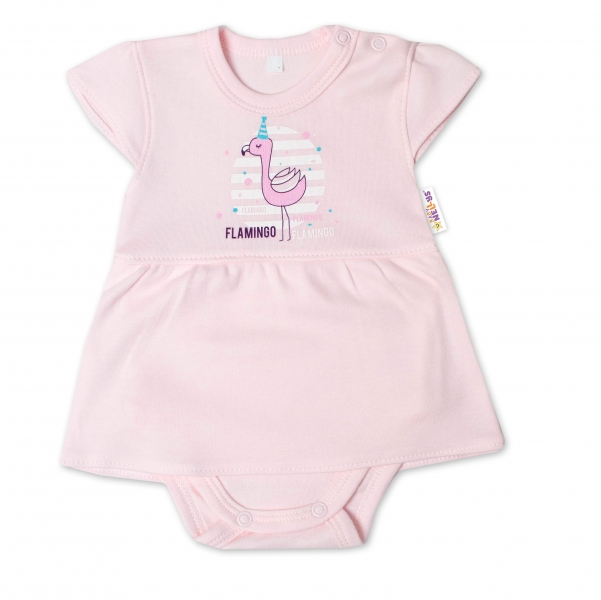 Baby Nellys Bavlnené dojčenské sukničkobody, kr. rukáv, Flamingo - sv. růžové, veľ. 86