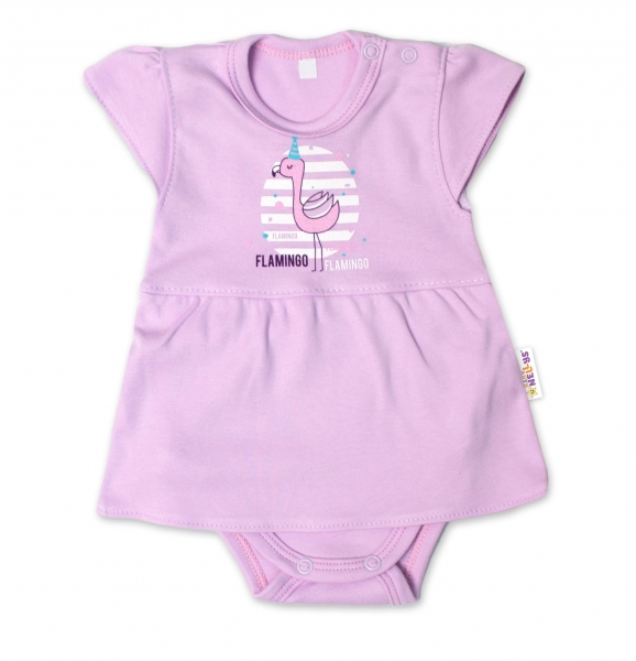 Baby Nellys Bavlnené dojčenské sukničkobody, kr. rukáv, Flamingo - lila, veľ. 62