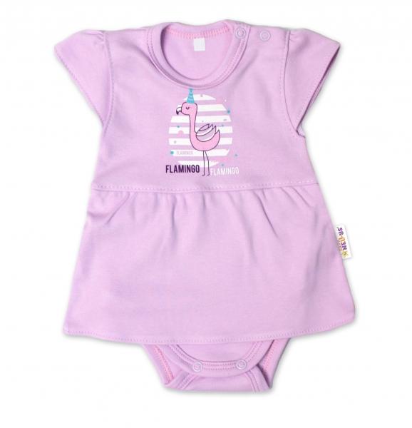Baby Nellys Bavlnené dojčenské sukničkobody, kr. rukáv, Flamingo - lila, veľ. 74