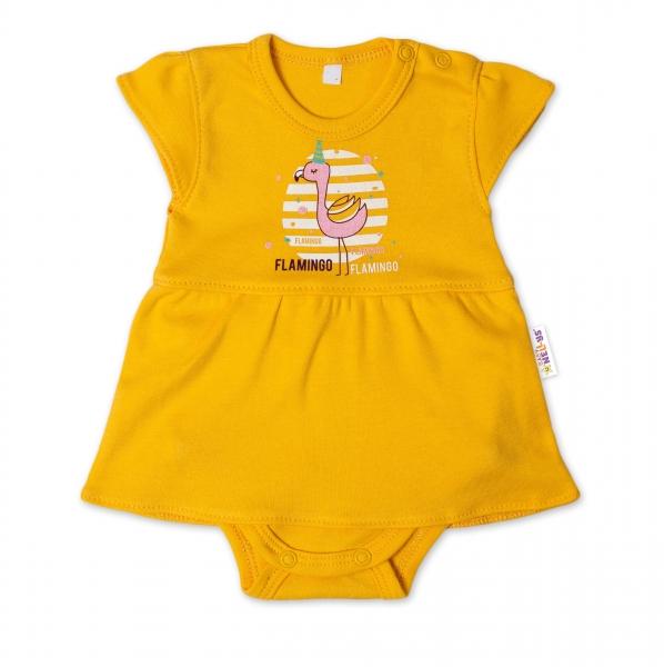 Baby Nellys Bavlnené dojčenské sukničkobody, kr. rukáv, Flamingo - horčicová, veľ. 68