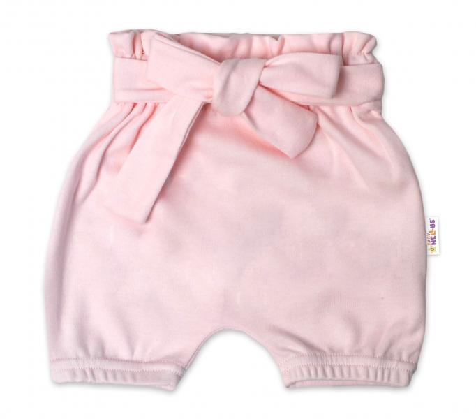 Baby Nellys Bavlnené kraťasy s ozdobným pásikom - sv. ružové