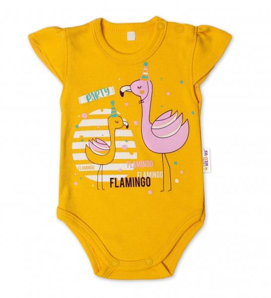 Baby Nellys Bavlnené dojčenské body, kr. rukáv, Flamingo - horčicove, veľ. 62