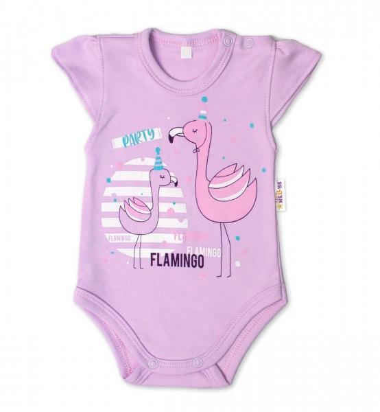 Baby Nellys Bavlnené dojčenské body, kr. rukáv, Flamingo - lila, veľ. 68