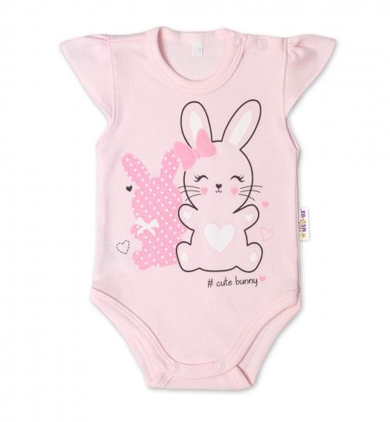 Baby Nellys Bavlnené dojčenské body, kr. rukáv, Cute Bunny - sv. růžová, veľ. 86