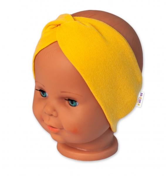 Baby Nellys Bavlnená čelenka dvojvrstvová, horčicová, veľ. 12-18 mesiacov