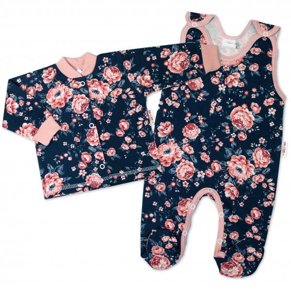 Baby Nellys 2-dielna sada, bavlnené dupačky s košieľkou Ružičku, granát, veľ. 68
