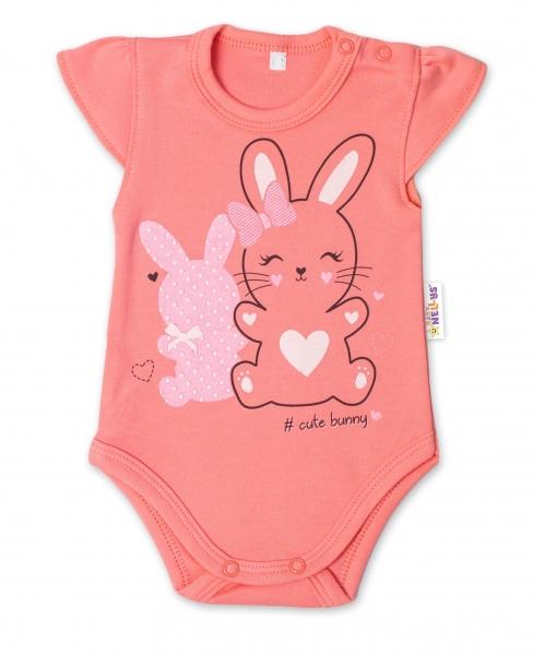 Baby Nellys Bavlnené dojčenské body, kr. rukáv, Cute Bunny - lososové, veľ. 80