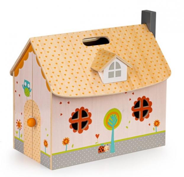 Eco toys Drevený domček pre bábiky s vybavením - biely