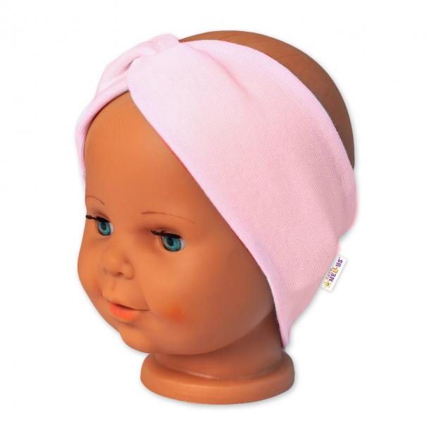 Baby Nellys Bavlnená čelenka dvojvrstvová, sv. růžová-#Velikost koj. oblečení;56-62 (0-3m)