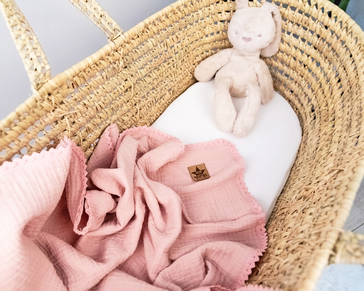 Baby Nellys Luxusná dvojvrstvová mušelínová detská deka, 75 x 100 cm, púdrová