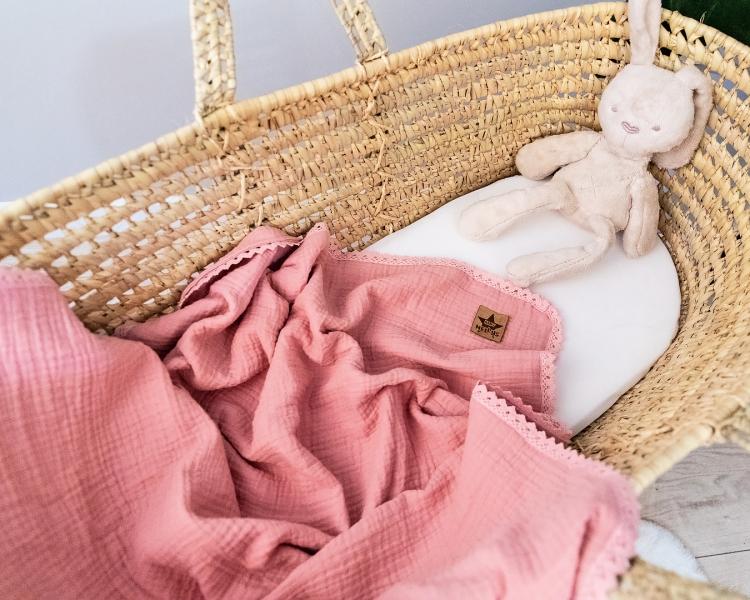 Baby Nellys Luxusná dvojvrstvová mušelínová detská deka, 75 x 100 cm, ružová