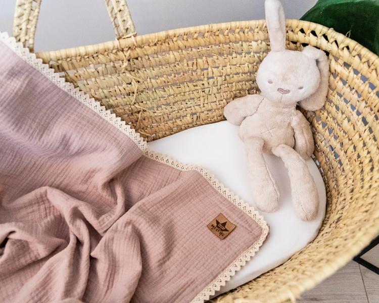 Baby Nellys Luxusná dvojvrstvová mušelínová detská deka, 75 x 100 cm, cappuccino