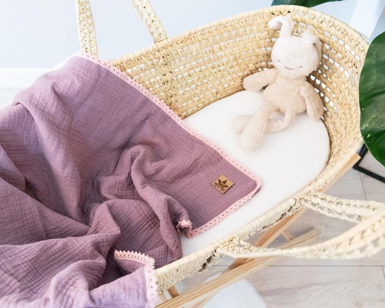 Baby Nellys Luxusná dvojvrstvová mušelínová detská deka, 75 x 100 cm, fialová