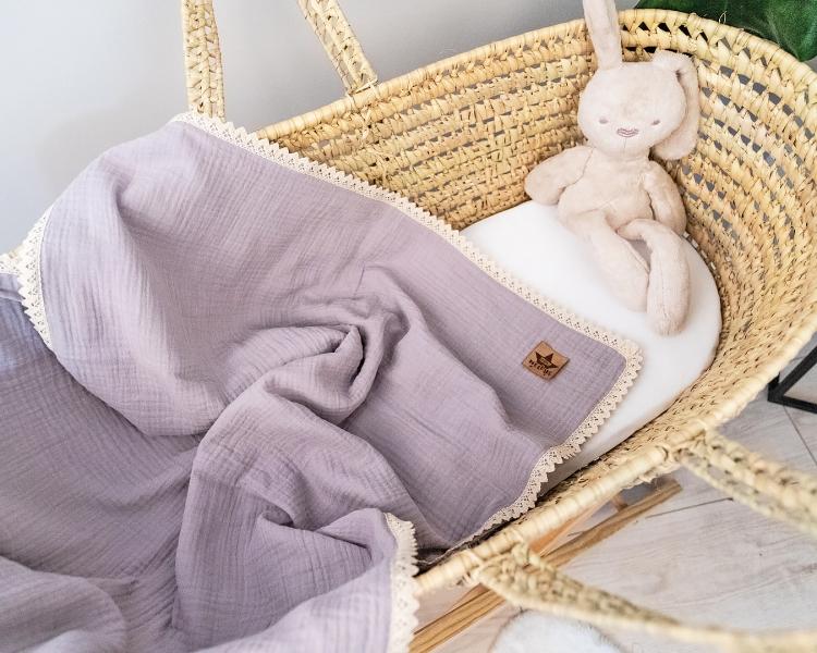 Baby Nellys Luxusná dvojvrstvová mušelínová detská deka, 75 x 100 cm, sivá