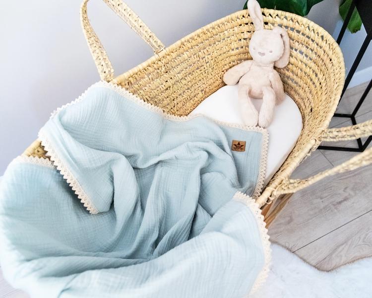 Baby Nellys Luxusná dvojvrstvová mušelínová detská deka, 75 x 100 cm, svetlo modrá