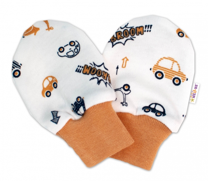 Baby Nellys Dojčenské rukavičky Car - smotanové / hnedé-#Velikost koj. oblečení;56-62 (0-3m)