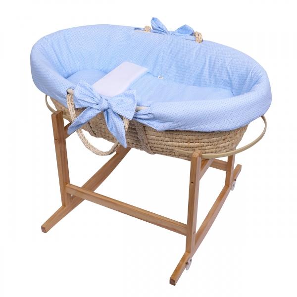 Baby Nellys Kôš Mojžišov pre bábätko so stojanom + matrace - modrá
