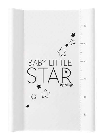 NELLYS Prebaľovacia podložka, mäkká, vyvýšené boky, BABY STAR, 50 x 70cm, biela