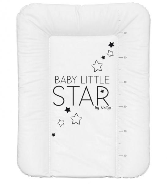 NELLYS Prebaľovacia podložka, mäkká, BABY STAR, 70 x 50cm, biela