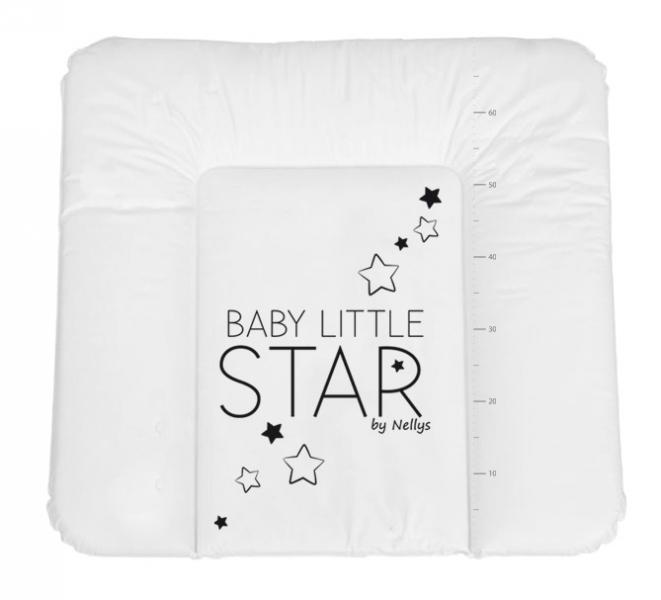 NELLYS Prebaľovacia podložka, mäkká, BABY STAR, 85 x 72cm, biela