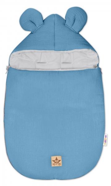 Baby Nellys Luxusné mušelínový fusak, 90 x 50 cm, modrý