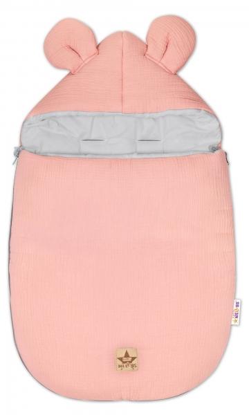 Baby Nellys Luxusné mušelínový fusak, 90 x 50 cm, pudrový marhulová