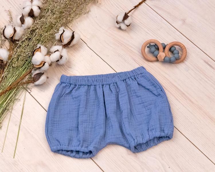 Baby Nellys mušelínové letné kraťasky BOY - jeans, veľ. 68/74