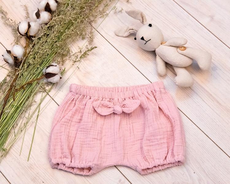 Baby Nellys mušelínové letné kraťasky GIRL s mašličkou -pudrovo ružová, veľ. 68/74