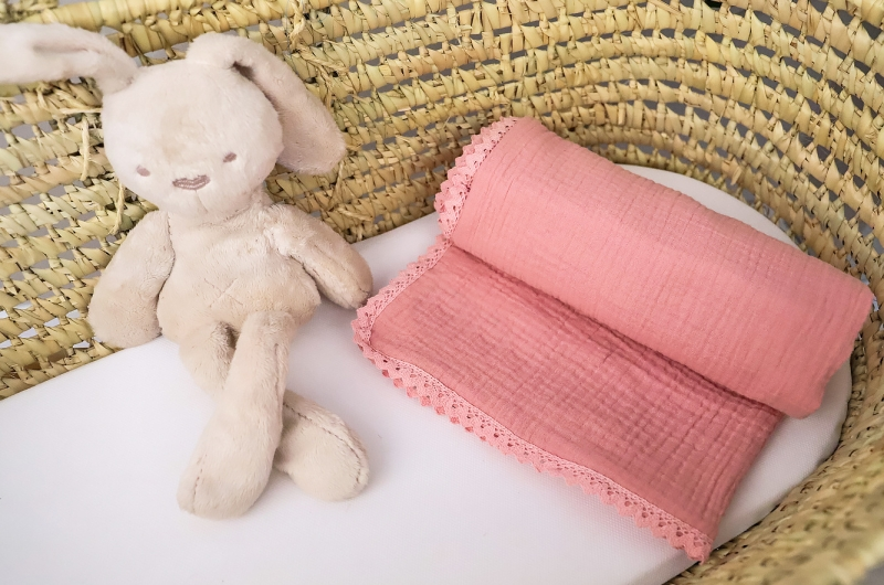 Baby Nellys Luxusná jednovrstvová mušelínová detská deka, 75 x 100 cm, ružová